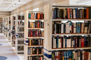 Bookcases in Uni library