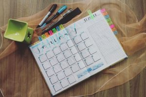 month planner and stationary