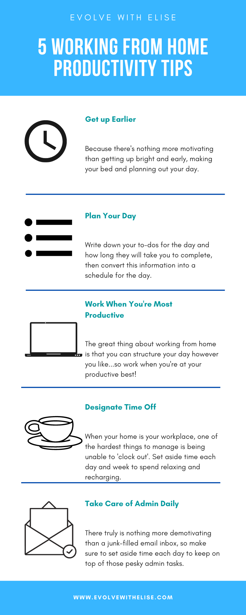 5 working from home productivity tips infographic