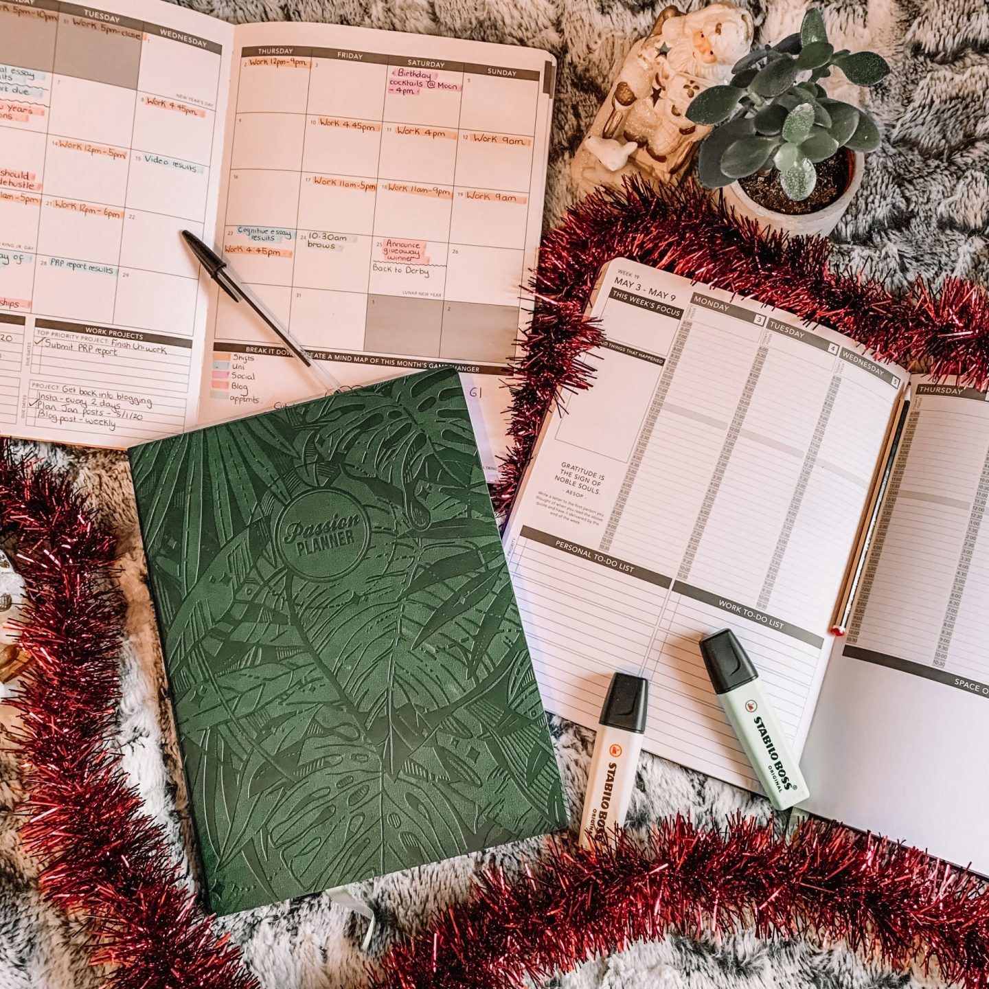 Forest Green Passion Planner Christmas-themed flatlay